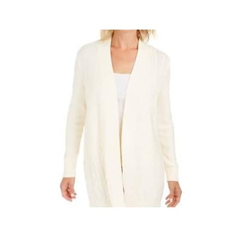 CHARTER CLUB Womens Ivory Solid Long Sleeve Sweater Size L