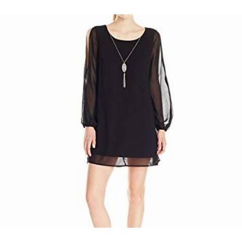 e42a5662 As U Wish Black Womens Size Medium M Necklace Cold-Shoulder Shift Dress
