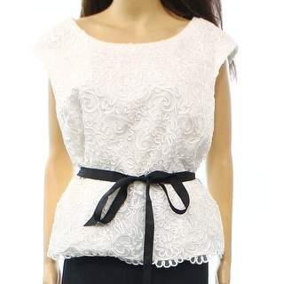 Alex Evenings NEW White Black Women's Size Medium M Belted Knit Top