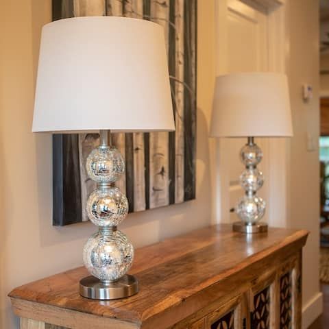 Tri-Tiered Glass Table Lamps (Set of 2)