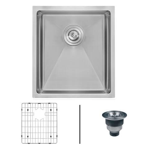 "Ruvati RVH7114 Gravena 14"" Undermount Single Basin 16 Gauge Stainless Steel Kitchen Sink with Basin Rack and Basket Strainer -"