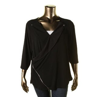 NY Collection Womens Plus Matte Jersey Ruffled Blouse - 3X