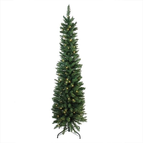 "6' x 21"" Pre-Lit Northern Balsam Fir Pencil Artificial Christmas Tree - Warm Clear LED Lights"