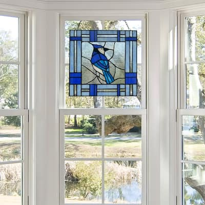 """River of Goods 11""""H John the Blue Jay Stained Glass Window Panel - 11"""" x 0.25"""" x 11"""""""
