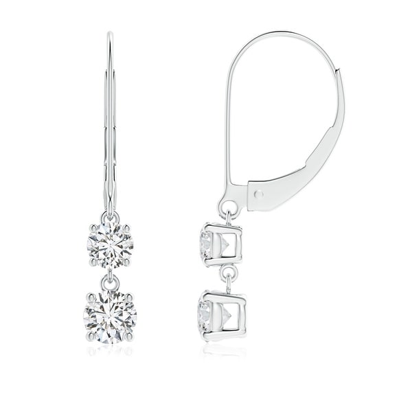 12e579f04 Angara 4mm Leverback Double Diamond Dangle Drop Earrings in 14K White Gold  - White G-H. Click to Zoom