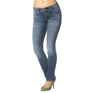Silver Jean Co Womens Suki Defined Curve Mid Rise Straight Medium Wash 24W/30L
