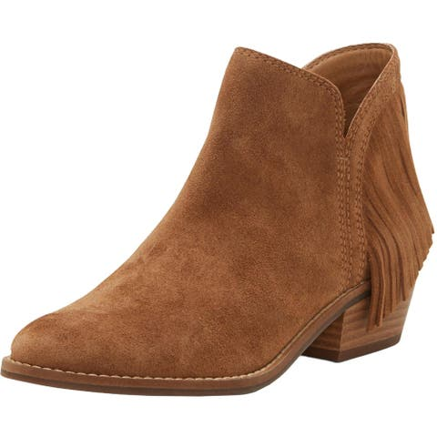 Lucky Brand Womens Freedah Ankle Boots Suede Fringe