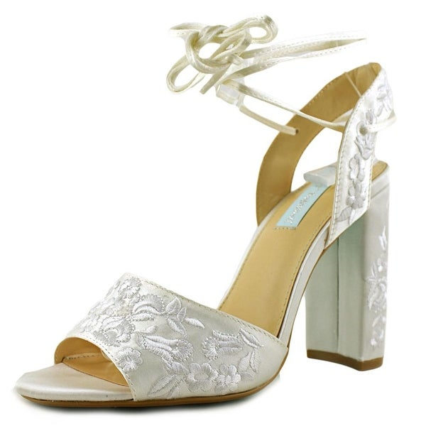 Betsey Johnson Raine Women Open Toe Canvas White Sandals