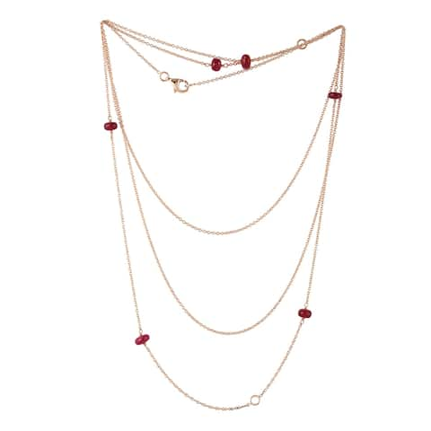 18Kt Gold Ruby Rope/Lariat Necklace Beads Jewelry With Jewelry Box