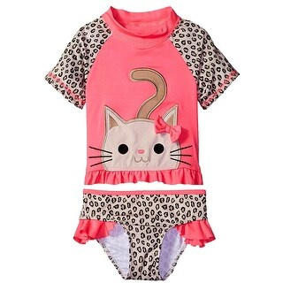 Wippette Toddler Girls Swimwear Cute Little Kitty Swim 2-Piece Rashguard (2 options available)