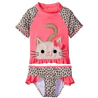 Wippette Toddler Girls Swimwear Cute Little Kitty Swim 2-Piece Rashguard