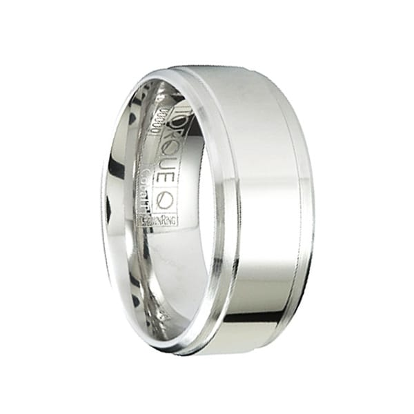 CLAUDE Polished Cobalt Men's Wedding Ring with Brushed Beveled Edges by Crown Ring - 9mm