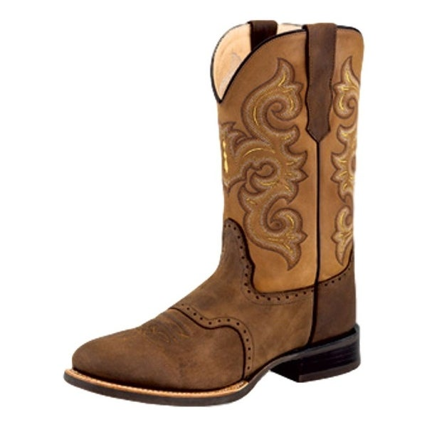 Old West Cowboy Boot Men Rubber Broad Round Hand Corded Chocolate