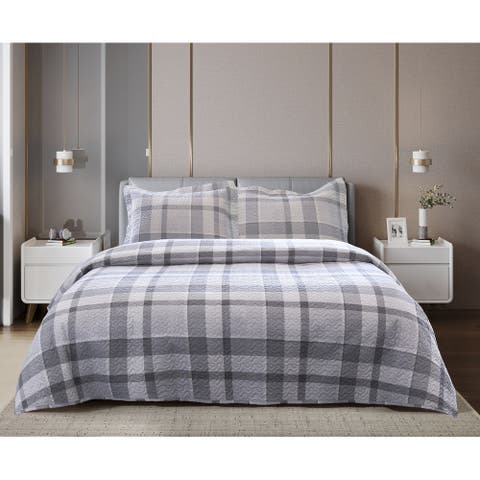 Grey Plaid Quilt Set - Twin