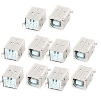 10 Pcs Shielded USB 2.0 Type B Female Plug PCB Mount Jack Connector