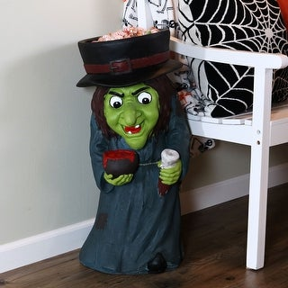 Sunnydaze Gwendolyn the Evil Witch Halloween Candy Bowl Dish - 28-Inch