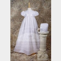 Baby Girls White Organza Ribbon Christening Baptism Dress Gown 3-12M