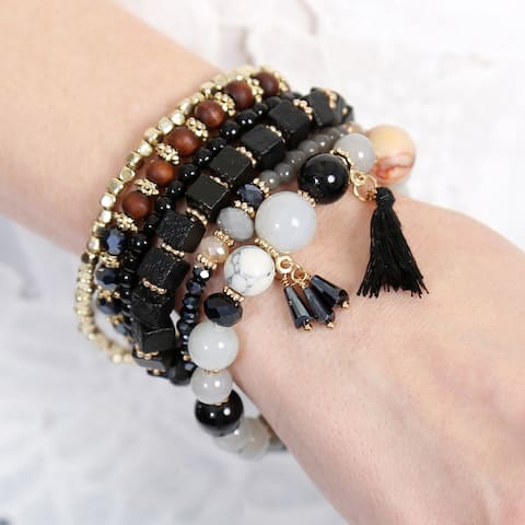 "Riah Fashion's Multi Color Stackable Beaded Bracelets - 2.5"" diameter"