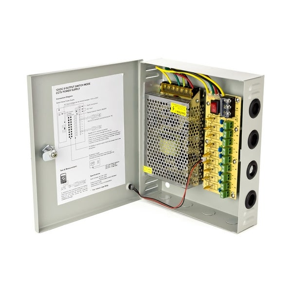 Overseer CCTV Power Supply Distribution Box, 12V 10 Amps, 9 Channels