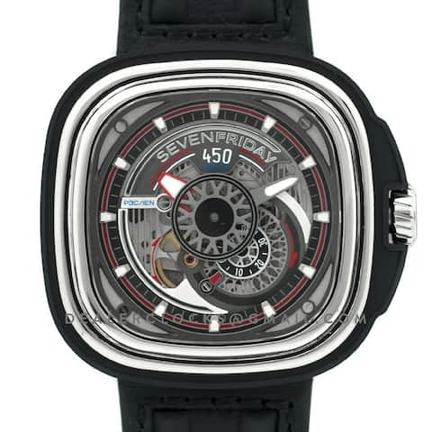 Sevenfriday Men's P3C-01 'HotRod' Black Leather Watch - Multi
