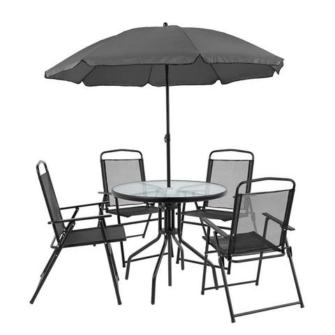 Porthos Home Ivo 6-Piece Patio Dining Set, 1 Table, 4 Chairs, 1 Parasol