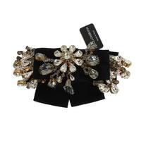 Dolce & Gabbana Dolce & Gabbana Gold Brass Clear Crystal Hair Clip - One size