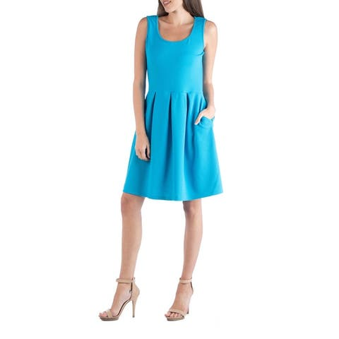 24seven Comfort Apparel Sleeveless Pleated Skater Dress with Pockets R0026187