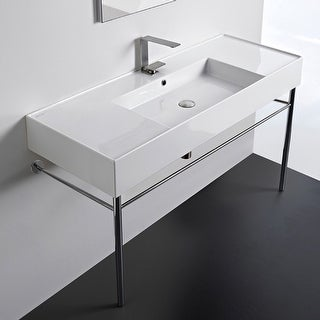 "Nameeks Scarabeo 5125-CON  Scarabeo Teorema 2.0 48"" Rectangular Ceramic Console Bathroom Sink with Overflow"