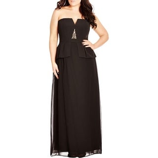 City Chic Womens Plus Maxi Dress Beaded Strapless Pleated
