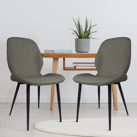 Upholstered PU Leather Dining Chair with Curved Back Seat Set of 2
