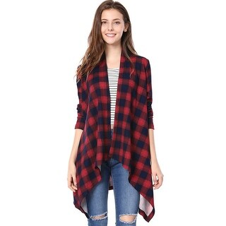 Allegra K Women Handkerchief Hem Open Front Plaids Cardigan