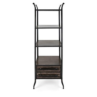 "71.5"" Black and Bronze Antiqued Finish Decorative Bookshelf with Drawers"