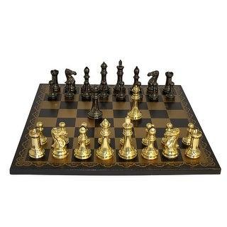 Brass Staunton Chess Set Black & Gold Leather Board - Multicolored