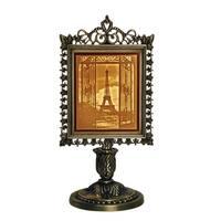 Porcelain Garden Eiffel Tower Lighted Lithophane in Metal Frame Stand - Three Dimensional View - Orange - Medium