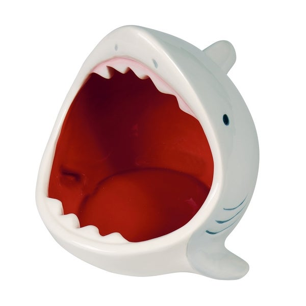 What On Earth Ceramic Shark Bowl - Gray Attacking Shark Fish Shaped Candy Dish - 8.5 in. x 7.75 in. x 7.5 in.