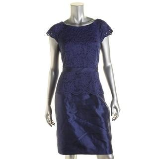 Alex Evenings Womens Petites Lace Contrast Trim Cocktail Dress