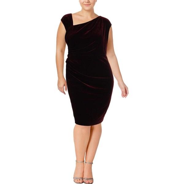 Lauren Ralph Lauren Womens Plus Party Dress Velvet Sheath