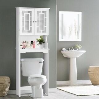 Costway Bathroom Spacesaver Over The Toilet Door Storage Cabinet Tower  Organizer White