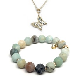 Green Amazonite Bracelet & CZ Butterfly Gold Charm Necklace Set