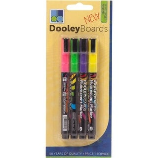 Dooley 414PF Board Dry-Erase Markers - Medium, Asst. Fluorescent