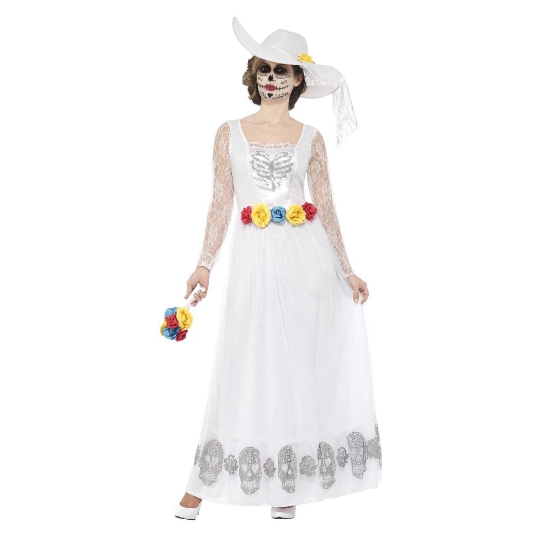 Day of the Dead Mask /& Veil Fancy Dress Ladies Halloween Skeleton Womens Costume