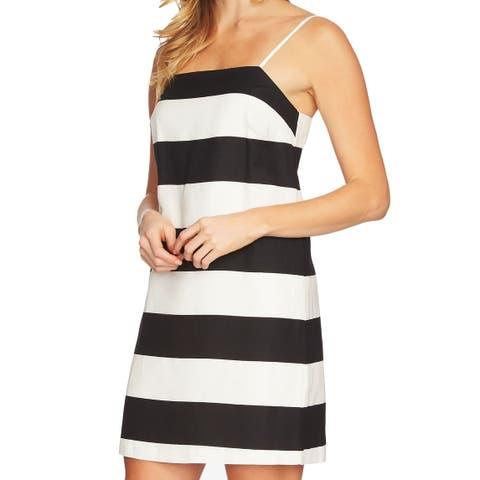 120cb57541a CeCe White Womens Size 10 Stripe Spaghetti Strap Sheath Dress