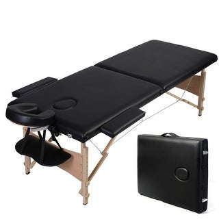 "Giantex Black 84""l Folded Portable Massage Table Facial SPA Bed Tattoo W/free Carry Case"