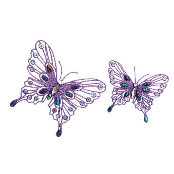 Pack of 8 Bright Purple Jeweled Butterfly Clip-On Christmas Ornaments 5.75""