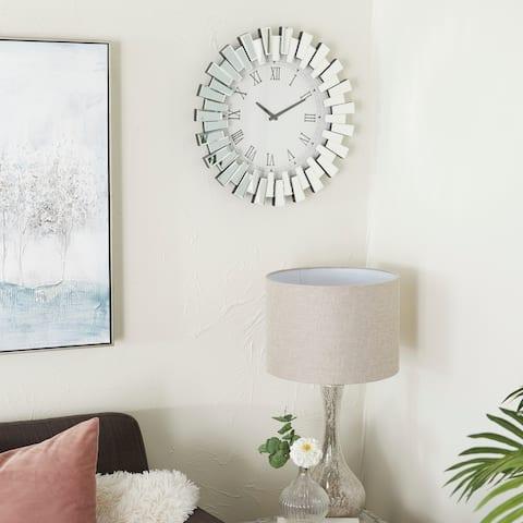 Silver MDF Glam Wall Clock - 3 x 20 x 20 Round