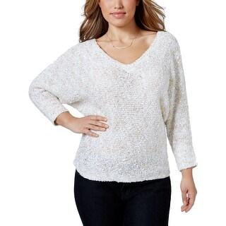 Jessica Simpson Womens V-Neck Sweater V-Neck Three-Quarter Sleeves - 1x