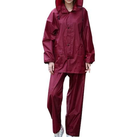QZUnique Men's Lightweight Outdoor Ripstop Waterproof Packable Rain Jacket Pants Zipper Raincoat set with Hood