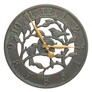 Whitehall Woodridge 16-in Indoor Outdoor Wall Clock (Bronze Verdigris) - bronze verdigris