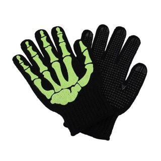 Glowing Skeleton Hand Knit Gloves Mechanics Work Biker OSFM