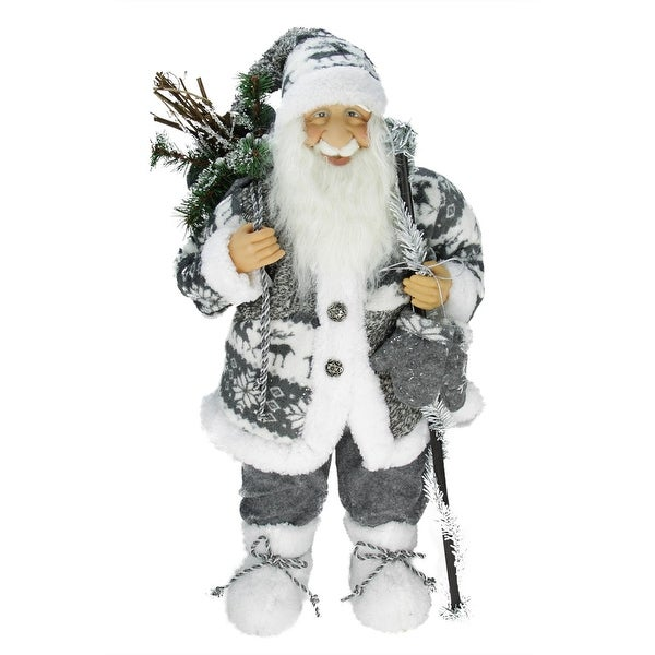"24"" Country Patchwork Standing Santa Claus Christmas Figure - WHITE"